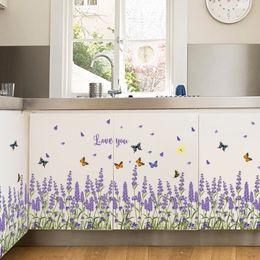 Baseboard Stickers Canada - Lavender Rhe Baseboard Creative DIY Flower Wall Sticker Entrance Kitchen Bathroom Bedroom Living Room Wall Sticker Flower