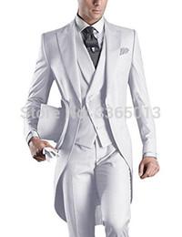 $enCountryForm.capitalKeyWord Australia - Wedding Suits For Men White Blue Black Grey Long Suit Men 2018 Latest Coat Pant Design Costume Homme Formal Groom Suit Tailcoat