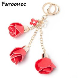 Chinese  Charms Leather Rose Flower Keychain Cute Tassel Flower Key Chain Women Key Rings Female Bag Pendant Jewelry Llaveros manufacturers