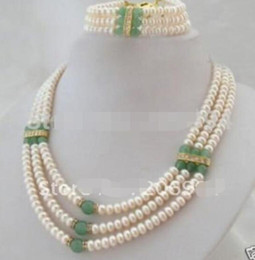 marcasite bracelets NZ - White freshwater pearls green stone beads necklace bracelet fashion jewelry set
