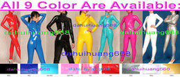 $enCountryForm.capitalKeyWord NZ - Sexy PVC Body Suit Costumes Front Long Zipper New 9 Color Shiny PVC Catsuit Costumes No Head Hand Foot Halloween Party Costumes DH200