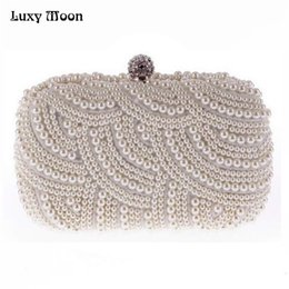 chains for cell phones 2019 - 100% Hand made Luxury Pearl Clutch bags Women Purse Diamond Chain white Evening Bags for Party Wedding black Bolsa Femin