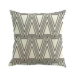 triangle pillow cases UK - DHL Free shipping Pillow case Black and white striped geometric inverted triangle linen pillow office pillow case 45cm*45cm