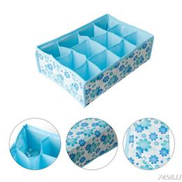 Discount fabric folding box case - 12 Grid Storage Box Bag Non-Woven Fabric Folding Case For Bra Socks Underwear Organizer For Cloth Print Storage DropShip