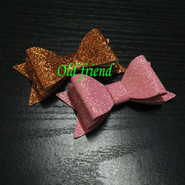 double hair bows Australia - Fashion Cute Double Layer Glitter Leather Hair Bow Girl S Kid S Bow Without Clips Hair Accessories 30pcs Lot 14colors In Stock