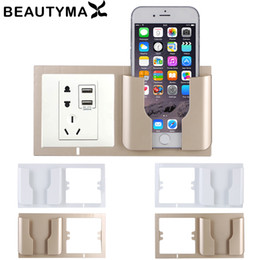 Discount cell phone holder charger stand - Mobile Phone Charging Wall Holder Wall Phone Holder Charger Box Home Charging Socket Shelf Stand Mount Support Cell