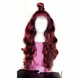 Burgundy Wavy Hair Australia - Hot Fashion Long Wavy Single Color Burgundy Hair Synthetic Glueless Lace Front Wig Free Part 26inch Heat Resistant 180% Density Fiber Hair