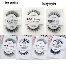 top false eyelashes Canada - 13 styles RED CHERRY False Eyelashes Natural Long Eye Lashes Extension Makeup Professional top grade fibre Eyelash free shipping