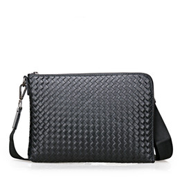hard shell hand bag 2019 - Fashion Men's Genuine Leather Woven wallet New Large-capacity Hand Bag Wallet High Quality Cowhide Hand Male Graspi