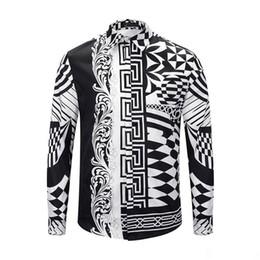 $enCountryForm.capitalKeyWord UK - 18 new luxury designer brand Medusa men's printed dress Slim cotton shirt men's black printed casual business shirt