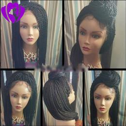 $enCountryForm.capitalKeyWord Australia - High quality 200densityDensity Braided Lace Front Wigs black brown burgundy blonde women style Synthetic Hair Micro Havana Twist Wigs