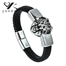 China YUKAM Lion Genuine Leather Braided Bracelets Handmade Viking Wolf Bracelets Bangle Stainless Steel Magnetic Buckle Men cheap vikings bracelet suppliers