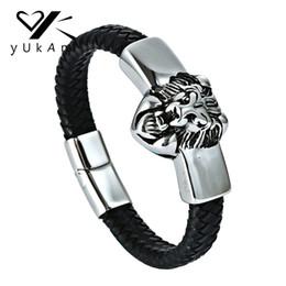 Vikings bracelet online shopping - YUKAM Lion Genuine Leather Braided Bracelets Handmade Viking Wolf Bracelets Bangle Stainless Steel Magnetic Buckle Men