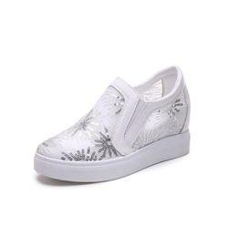 002b0cfcf8b 2018 Summer Style Women Shoes Hidden Wedge 6cm Heels black white sneakers  women Elevator Bling Shoes Casual Shoes For Women Platform Sneaker