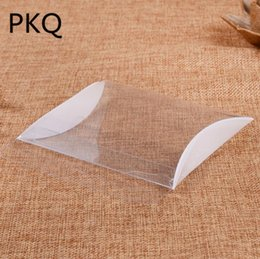 Clear Pillow Boxes Australia - 100pcs Wholesale Clear Plastic Box Small Candy Packaging Pillow Box Crafts Present Storage Gift for Wedding Party Favor