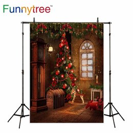 vintage photography backdrops Australia - wholesale photography backdrops vintage room Christmas tree decoration Floor clock window background for photo studio photocall