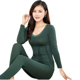 37ee2d57f95 Winter Sexy Slim Lace Long Johns Women Warm Pajamas Autumn Fashion Modal  Body Thermal Underwear Set Second Female Thermal Skin