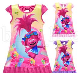 Discount princes dresses - Children baby girl Trolls Dress Kids Bowknot Short Sleeve nightgown pajamas clothing prince sleepwear clothes 6 Color KK