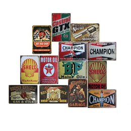 Oil painted metal wall art online shopping - Garage Gilmore Shell Champion Motor Oil Retro Tustic metal tin signs Wall Art Vintage Tin Poster Cafe Shop Bar Home Decor Metal Painting