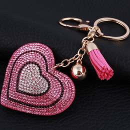 Discount classic car novelties - Novelty Rhinestone heart Tassel Keychains Keyring Fashion Heart Metal Crystal Pink Key Chains Purse Pendant Gift for Wom