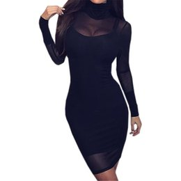 Gauze Patchwork Long Sleeve Turtleneck Women Dresses Sexy Club Mesh Perspective  2019 Female Two Piece Autumn Mini Dress GV862 f04ff77c1