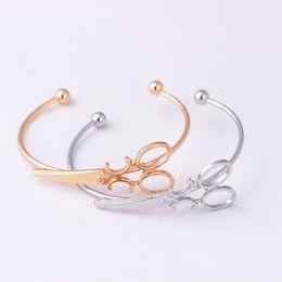 cedb7dc49fa Scissors Bracelet Bangle For Women Hollow Shears Bracelets & Bangles  Adjustable Bracelets Hip Hop Party Gifts Gold Silver Plated Cuff Bangle
