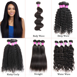 Remy deep wave haiR weave online shopping - Brazilian Virgin Hair Body Deep Water Wave Straight Kinky Curly Human Hair Extensions Weave Bundles Raw Indian Peruvian Wefts
