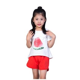 $enCountryForm.capitalKeyWord UK - 2 PCS Baby Girl Clothes Summer Cartoon Watermelon T-shirt + Red Shorts Baby Clothes Set Beach Holiday Kids