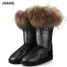 Discount boots real fox - JXANG Fashion Natural Real Fox Fur Women Winter Snow Boots Warm Long Boots Genuine Cow Leather High Winter Boots Women S
