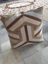 y hair 2019 - Big Y Design Brown Cowhide Leather Cushion 50x50cm Pillowcase + Inner Insert Cow Hair On Skin Pillow cheap y hair