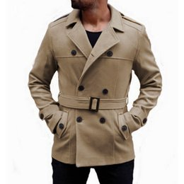 22c1ccfd700 Black Khaki Double Breasted Coat Men NZ - Mens Trench Jackets Coats Suede  Fabric Double breasted