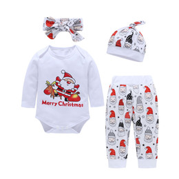 Long sLeeve white romper baby online shopping - 2018 Hot Christmas Santa Xmas Baby clothing sets Infant clothing White Bodysuit Romper Long sleeve pant headband set Autumn months