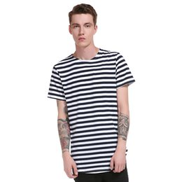 men stripe long sleeve tee NZ - Stripe Casual Tee Shirts Men Cotton Round Hem Long Pattern High Street Summer New Fashion Style Short Sleeve Tops