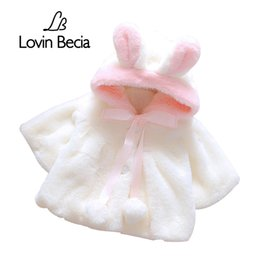 China LovinBecia Baby Girl Cute Rabbit ears Hooded Coats Baby Infant Fur Winter keep Warm Coat Cloak Girls Jacket Thick Warm Clothes supplier rabbit fur clothes suppliers