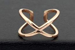 $enCountryForm.capitalKeyWord Australia - New Korean version of the hollow cross X word fashion finger ring ring Joker Titanium steel plated rose gold ring