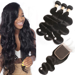 human hair 5x5 lace closure Australia - Malaysian Human Hair 5X5 Lace Closure With Baby Hair 3 Bundles With 5*5 Closure Natural Color Body Wave Middle Three Free Part