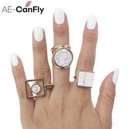 Ring Hippie NZ - AE-CANFLY Geometric Round Square Big Finger Ring Boho Ethnic Women Hippie Ring 2D1015