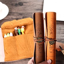 designed blinds NZ - PU Vintage Pirate Roller Blind Design Pencil Bag Office School Pens Received Supply Retro Delicate Case For Erasers Washi Tapes