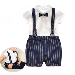 $enCountryForm.capitalKeyWord Canada - Fashion Baby boys gentleman strap outfits Summer Infant Tie romper+Strap shorts 2pcs set kids Clothing Sets toddler clothes