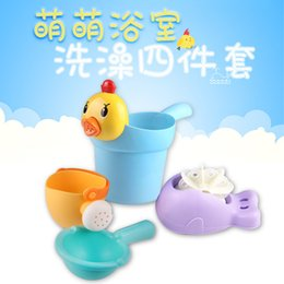 plastic chicks Australia - 4 pcs Cute Cartoon Chick Baby Shower Water Spoon infant Bathing Flusher Baby Shampoo Cup Bath Wash Cups Wash Head Floating Toy