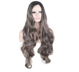 European Wigs Sale NZ - 2018 European and American foreign trade black gradually grey long curly hair wig headgear factory direct sale hot spot sales