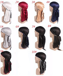 Discount long tail hats - Latest Unisex Men Women Satin Breathable Bandana Hat Silky Durag Doo Durag Long Tail Headwrap Headband Pirate Hat Hair A