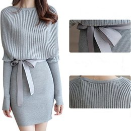 b118401d468 Women s Sweater Dress Sexy Cotton Bow Elastic Spring Autumn Black and Gray Knitted  Dresses Vestidos Belt Party Dresses for Womens Clothes