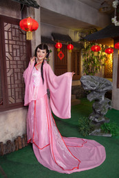 goddess dresses white NZ - Oriental Asian China ancient Costume dress female goddess fairy clothing mid autumn royal clothes fairy tail hanfu Pink and White Color