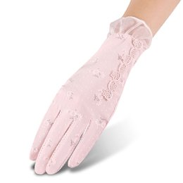 $enCountryForm.capitalKeyWord UK - FLYBER Elegant Bow Tie Women Mesh Arm Gloves Sunscreen Summer 2018 Lady Mittens Sun Protection Full Fingers Outdoor Female Glove