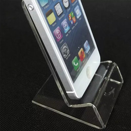 Discount holder display phones - Universal General Clear Transparent Acrylic Mount Holder Display Stand Shown for iphone Samsung Cellphone Mobile Phone