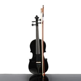 Venta al por mayor de Instrumentos musicales Precioso tamaño 1/2 Caja de violín acústico Arco Resina Color negro para estudiantes principiantes