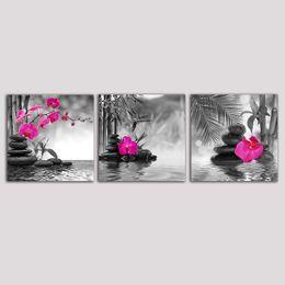 Cartel de la pintura de la lona en blanco y negro mariposa orquídea flor Zen Stones Arte de la pared Impresión de bambú sobre lienzo Arte moderno decoración de la pared en venta