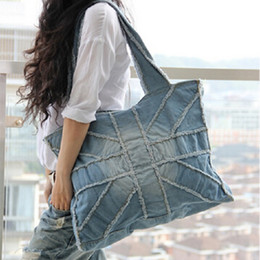 $enCountryForm.capitalKeyWord Canada - Vintage Blue Women Handbag Large Capacity Fashion England UK Flag Cross Denim Bag For Women Casual Shoulder Bag Canvas Tote