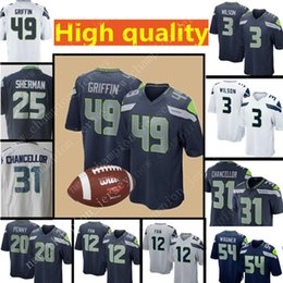 Men s Seattle Seahawks Jersey 49 Shaquem Griffin 3 Russell Wilson 12th Fan  31 Kam Chancellor 20 Rashaad Penny 54 Bobby Wagner Jerseys eb9b8ae14